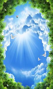 Облачное небо в рамке из листвы