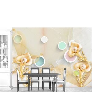 Мраморный фон, золотые цветы с жемчугом