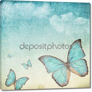 Старинный фон с Голубая бабочка