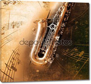 Старый саксофон с грязными фон