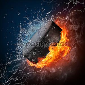 Пламенная хоккейная шайба
