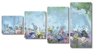 Цветы на фоне туманного леса