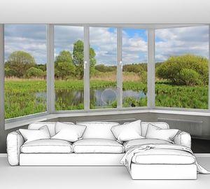 Панорамное окно с видом на пруд летом