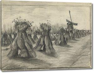 Ван Гог. Пшеничное поле со снопами и мельницей