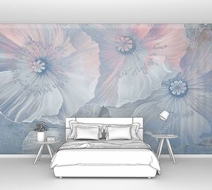 Нежные бело-голубые цветы на штукатурке
