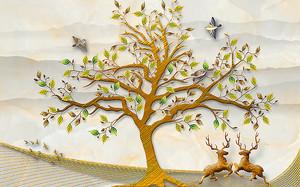 Олений бой под деревом