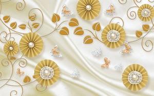 Круглые бежевые абстрактные цветы