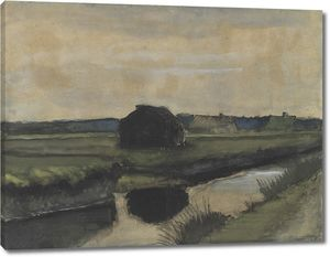 Ван Гог. Пейзаж с грудой торфа и фермерскими домами