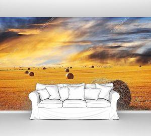 золотой закат по области фермы