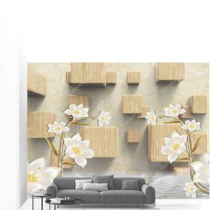 Бежевый мраморный фон, деревянные кубики, две ветви лилий