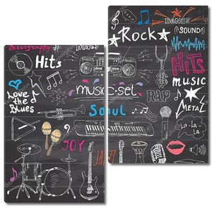 Music items doodle icons set.