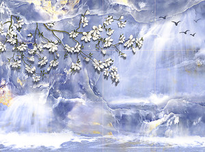 Ветвь сакуры на фиолетовом камне