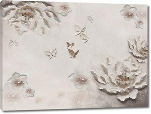Гипсовые цветы с бабочками
