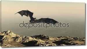 Дракон, летающий над обрывом горы