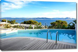 видом на бассейн с морской в роскошный отель, peloponnes, Греция