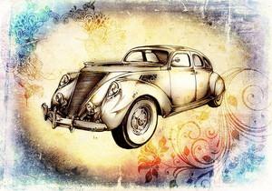 Классический автомобиль ретро акварель