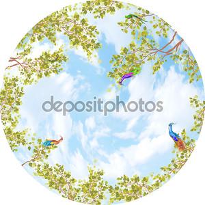 Небо в круг с листьями