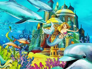 Русалки и дельфины в океане
