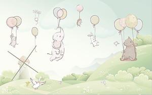 Животные летят на шариках