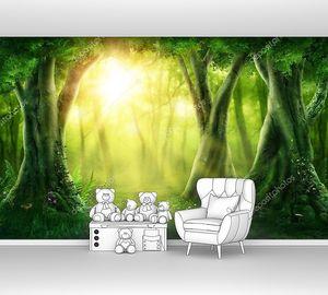Темный волшебный лес с солнечным светом
