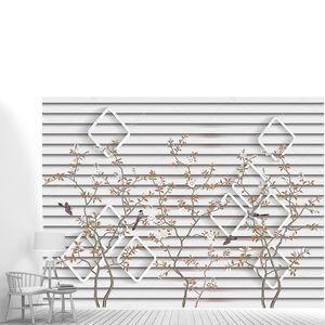 Белые ромбовидные рамки, птицы на деревьях