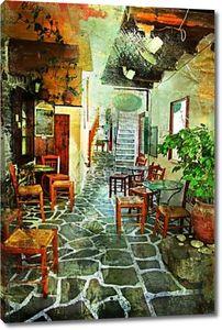Иллюстрированные греческой деревни произведениями искусства в стиле ретро