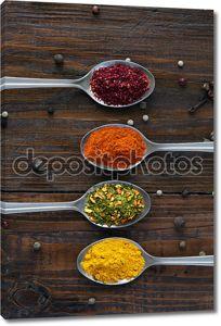 Разнообразие восточных специй в серебряные ложки