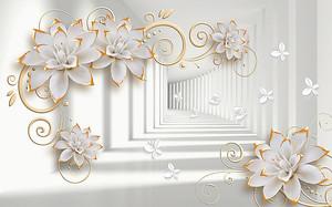 Цветы с позолотой в белом тоннеле