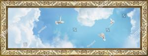 Голуби в небе с узором по периметру