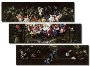 Арельяно Хуан де. Гирлянда из цветов на картуше с пейзажем