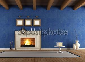 Синий старинный интерьер