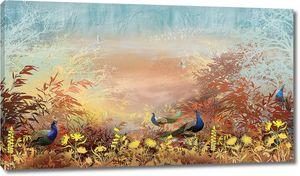 Павлины в осеннем саду
