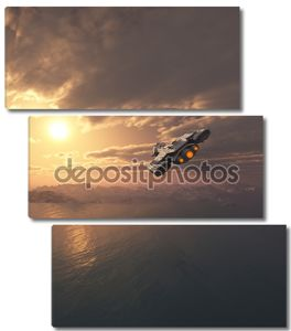 космический корабль, полет на закате