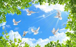 Голуби в листве