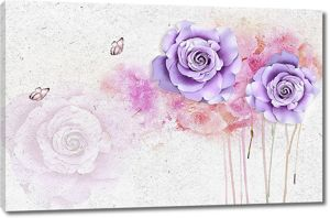 Фиолетовые цветы на шершавой стене