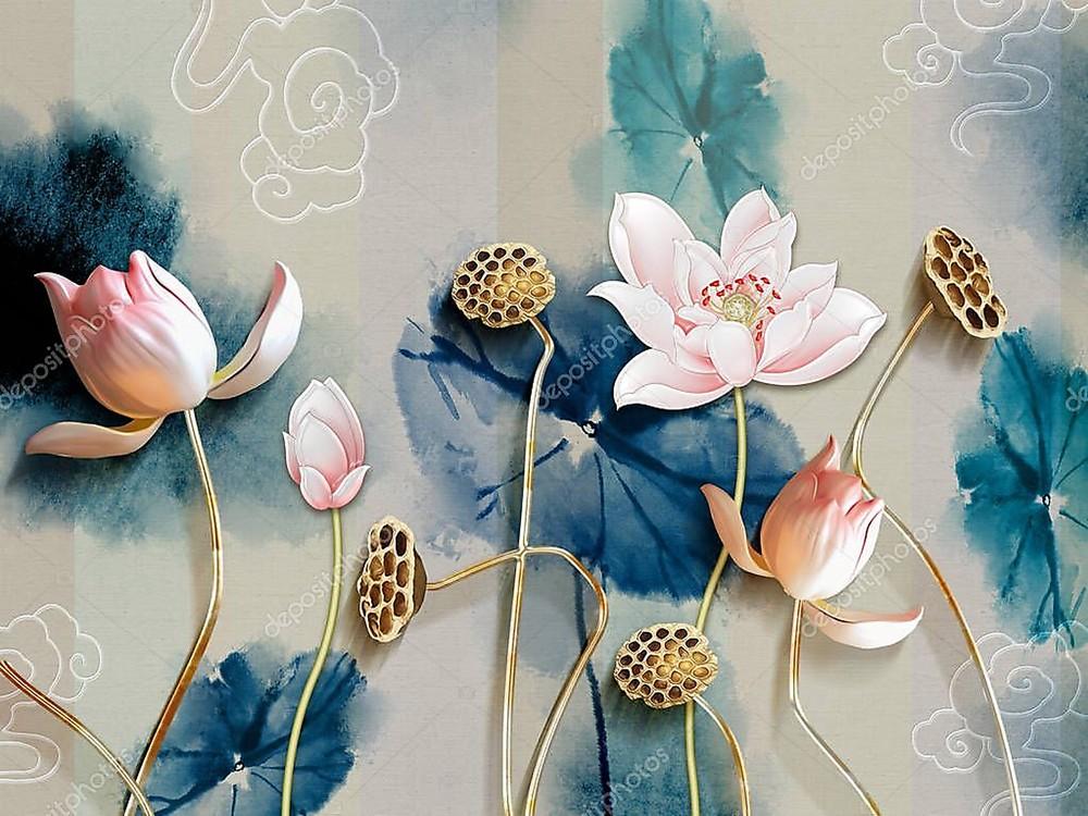 Фотообои «Лотосы на золотых стеблях», купить в интернет-магазине «Первое Ателье»™