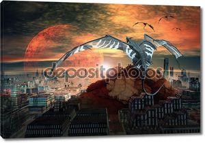 Драконы, полет над городом