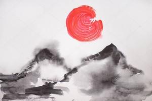 Японская живопись с солнцем и шипами на белом фоне