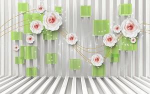 Белые полосы, зеленые кубики, белые розы