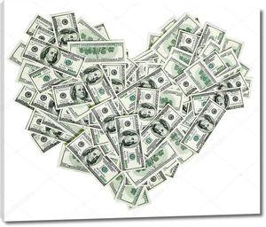 Знак в форме сердца, сделанный из банкнот