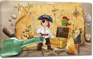 Пират и пустая бутылка рома