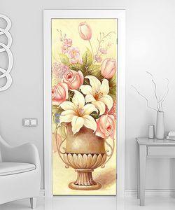 Букет  нежных цветов в медной вазе