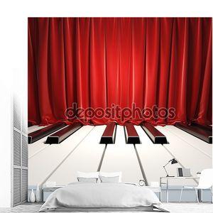 Клавиши пианино и красные шторы.