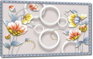 Синяя рамка,  большие желтые и розовые водяные лилии