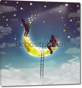 Silhouette illustration of a girl sitting on moon and boy playing the saxophone