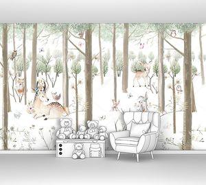 Детский рисунок с животными в лесу