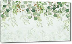 Ветки с листьями по верху