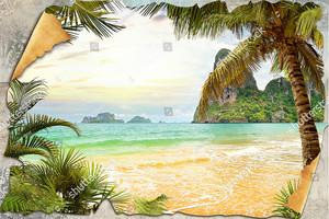 Композиция из старой стены и пальмы с морем