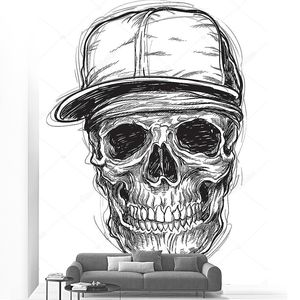 Sketchy Skull with Cap and Bandana