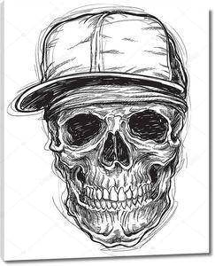 Sketchy Skull with Cap and Bandana